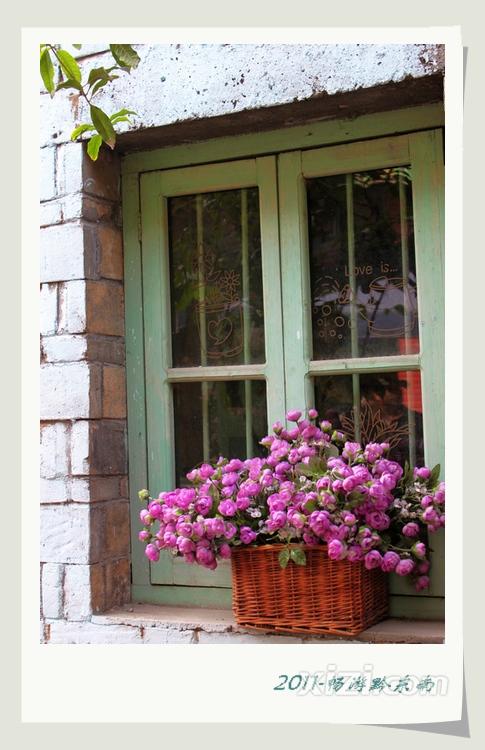 一盆小花,明净窗户上的趣致简笔画